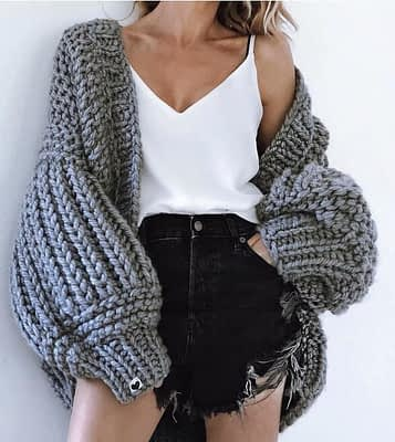 Pink Coarse Knitted Sweater Women 2020 Winter Fashion Lantern Sleeve Cardigan Female Open Front Korea Sweater Coat