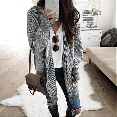 Nadafair Oversized Long Cardigan Women Vintage Plaid Winter Knitted Cardigan Sweater Female Casual Autumn Coat Outwear