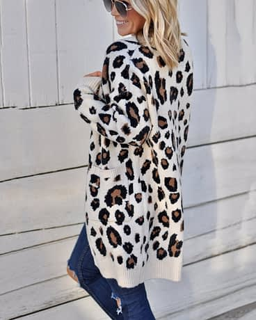 Oversize Casual Leopard Cardigan Women Kimono 2019 Autumn Plus Size Long Winter Knitted Sweater Female
