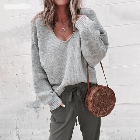 Casual Knitted Sweater Women Streetwear V Neck Long Sleeve Pullovers Loose Solid Coat 2019 Autumn Winter Fashion Women's Sweater 3