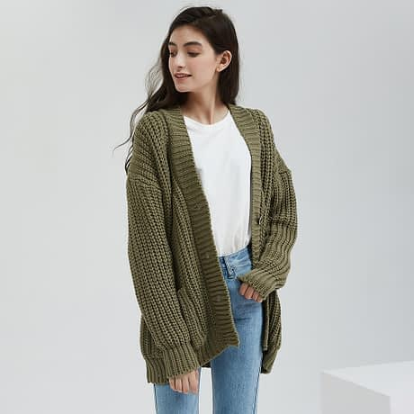 Wixra Knitted Chunky Cardigan Sweater Women Pockets Solid Thick Tops Clothing Stylish Sweater for Female 2019 Autumn Winter 2