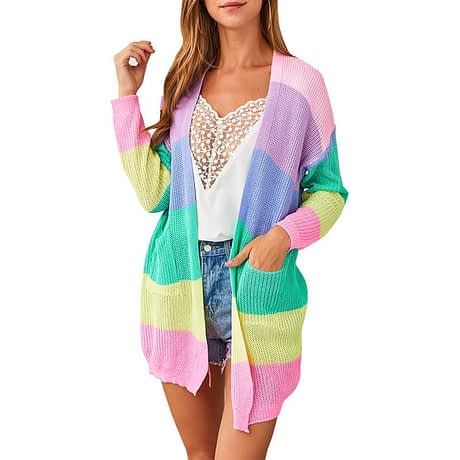 2019 Autumn Winter Knitting Coat Women Knitted Cardigan Striped Print Rainbow Sweater Color Block Open Front Long Sleeve Kimono 1