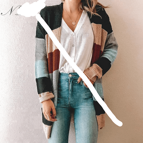 NLW Stripe Knitted Cardigan 2019 Autumn Winter Women Casual Sweater Cardigans Long Sleeve Pockets Plus Size Chic Cardigans 2