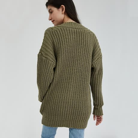 Wixra Knitted Chunky Cardigan Sweater Women Pockets Solid Thick Tops Clothing Stylish Sweater for Female 2019 Autumn Winter 3