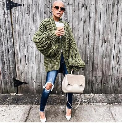 Pink Coarse Knitted Sweater Women 2020 Winter Fashion Lantern Sleeve Cardigan Female Open Front Korea Sweater Coat 1
