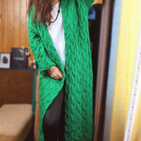 RUGOD 2019 New Spring&Winter Knitted Crochet Sweater for Women Long Twisted cardigan dress Open female sweaters cardigan women 5