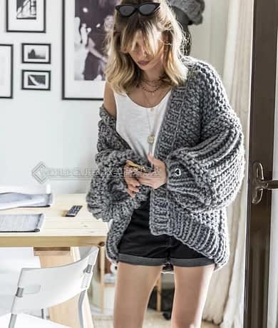 Pink Coarse Knitted Sweater Women 2020 Winter Fashion Lantern Sleeve Cardigan Female Open Front Korea Sweater Coat 3
