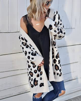 Forefair Oversize Casual Leopard Cardigan Women Kimono 2019 Autumn Plus Size Long Winter Knitted Sweater Female