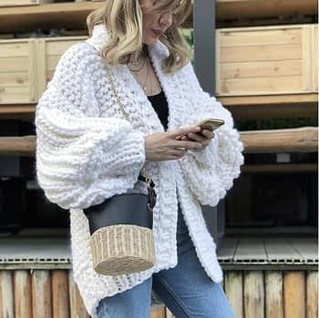 Pink Coarse Knitted Sweater Women 2020 Winter Fashion Lantern Sleeve Cardigan Female Open Front Korea Sweater Coat