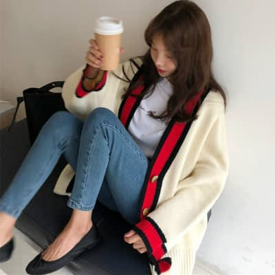 Women Autumn v neck patchwork cardigan sweater coat white loose plus size long sleeve pull femme jersey knitted tops 1