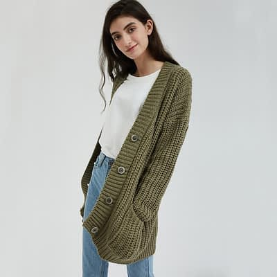 Wixra Knitted Chunky Cardigan Sweater Women Pockets Solid Thick Tops Clothing Stylish Sweater for Female 2019 Autumn Winter