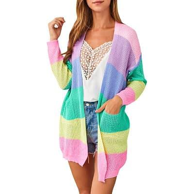 2019 Autumn Winter Knitting Coat Women Knitted Cardigan Striped Print Rainbow Sweater Color Block Open Front Long Sleeve Kimono 1