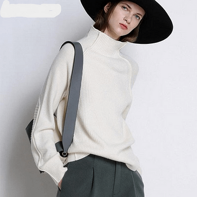 BELIARST New Autumn and Winter Cashmere Sweater Women High-Collar Thickened Pullover Loose Sweater Large Size Knitted Wool Shirt 1