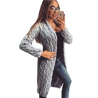 RUGOD 2019 New Spring&Winter Knitted Crochet Sweater for Women Long Twisted cardigan dress Open female sweaters cardigan women