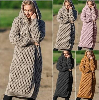 Women Knitted Cardigans Winter 2019 Causal Warm Solid Open Stitch Long Female Sweater Oversized Loose Hooded Knitwear Outwear