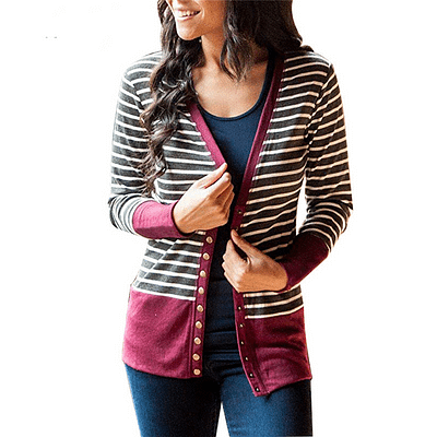 Striped Patchwork Sweater Women Cardigan Autumn 2019 V Neck Buttons Outerwear Fashion Elegant Knit Coat Open Stitch Top Sweater