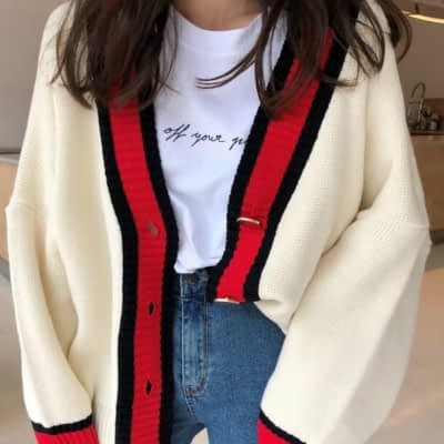 Women Autumn v neck patchwork cardigan sweater coat white loose plus size long sleeve pull femme jersey knitted tops