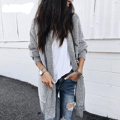 Nadafair Oversized Long Cardigan Women Vintage Plaid Winter Knitted Cardigan Sweater Female Casual Autumn Coat Outwear 1