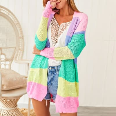 2019 Autumn Winter Knitting Coat Women Knitted Cardigan Striped Print Rainbow Sweater Color Block Open Front Long Sleeve Kimono