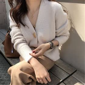 RUGOD Solid Elegant Women Cardigans Casual V-Neck Cashmere Knitted Women Sweaters Coat Slim Autumn Winter Clothes Female 2019