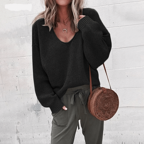 Casual Knitted Sweater Women Streetwear V Neck Long Sleeve Pullovers Loose Solid Coat 2019 Autumn Winter Fashion Women's Sweater 4