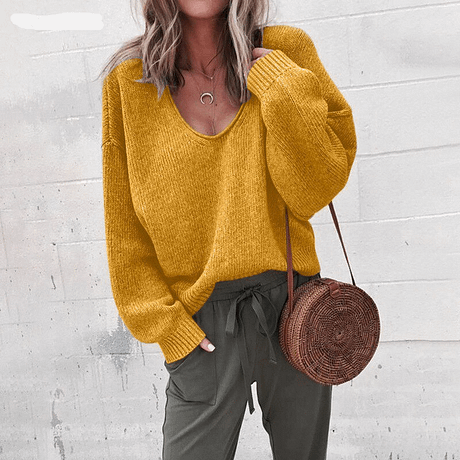 Casual Knitted Sweater Women Streetwear V Neck Long Sleeve Pullovers Loose Solid Coat 2019 Autumn Winter Fashion Women's Sweater 2