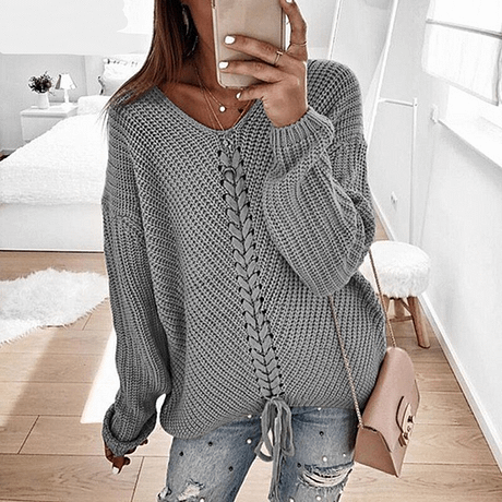 RONNYKISE Sexy V-neck Lace Up Knitted Sweaters Long Sleeve Solid Stitching Loose Sweater Autumn Winter Casual Sweaters 2