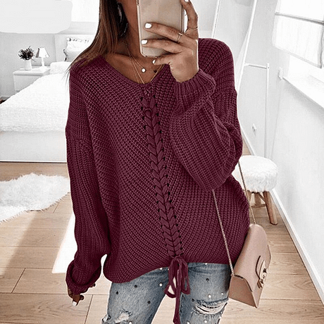 RONNYKISE Sexy V-neck Lace Up Knitted Sweaters Long Sleeve Solid Stitching Loose Sweater Autumn Winter Casual Sweaters 3