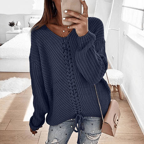 RONNYKISE Sexy V-neck Lace Up Knitted Sweaters Long Sleeve Solid Stitching Loose Sweater Autumn Winter Casual Sweaters 1