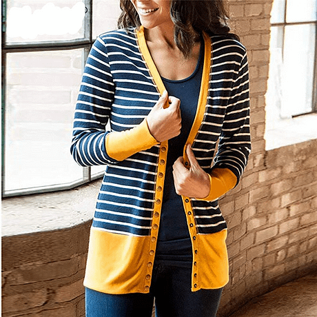 Striped Patchwork Sweater Women Cardigan Autumn 2019 V Neck Buttons Outerwear Fashion Elegant Knit Coat Open Stitch Top Sweater 2