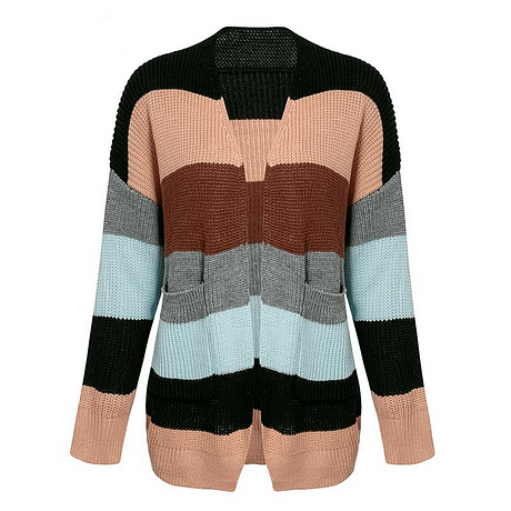 NLW Stripe Knitted Cardigan 2019 Autumn Winter Women Casual Sweater Cardigans Long Sleeve Pockets Plus Size Chic Cardigans 5