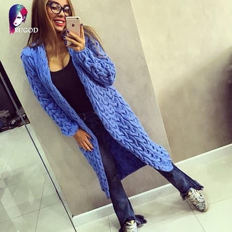 RUGOD 2019 New Spring&Winter Knitted Crochet Sweater for Women Long Twisted cardigan dress Open female sweaters cardigan women 4