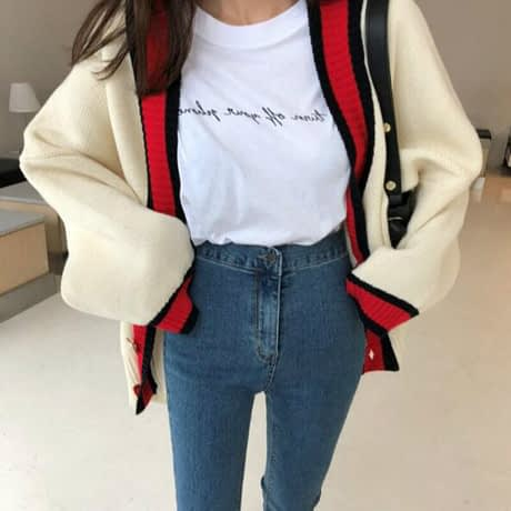 Women Autumn v neck patchwork cardigan sweater coat white loose plus size long sleeve pull femme jersey knitted tops 2
