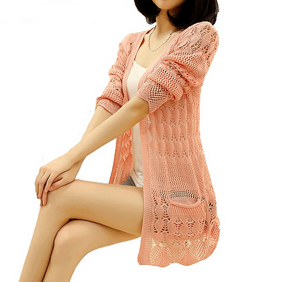 2019 Fashion, Knitted Cardigan, Loose Pocket Hollow Long Sleeve, Women's Cardigan