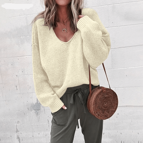 Casual Knitted Sweater Women Streetwear V Neck Long Sleeve Pullovers Loose Solid Coat 2019 Autumn Winter Fashion Women's Sweater 5
