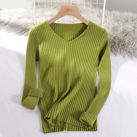 2019 basic v-neck solid autumn winter Sweater Pullover Women Female Knitted sweater slim long sleeve badycon sweater cheap 3