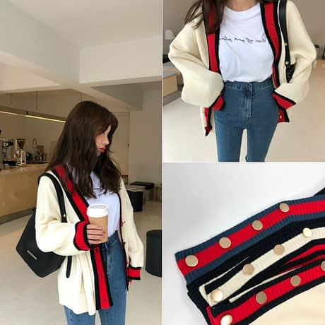 Women Autumn v neck patchwork cardigan sweater coat white loose plus size long sleeve pull femme jersey knitted tops 4