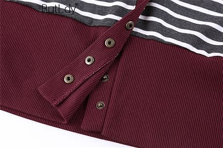 Striped Patchwork Sweater Women Cardigan Autumn 2019 V Neck Buttons Outerwear Fashion Elegant Knit Coat Open Stitch Top Sweater 5