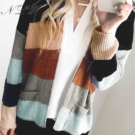 NLW Stripe Knitted Cardigan 2019 Autumn Winter Women Casual Sweater Cardigans Long Sleeve Pockets Plus Size Chic Cardigans 1