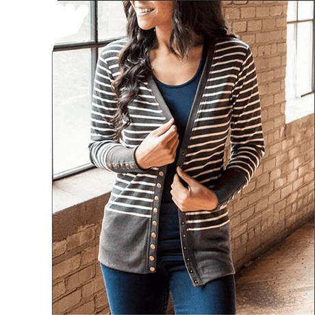Striped Patchwork Sweater Women Cardigan Autumn 2019 V Neck Buttons Outerwear Fashion Elegant Knit Coat Open Stitch Top Sweater 3