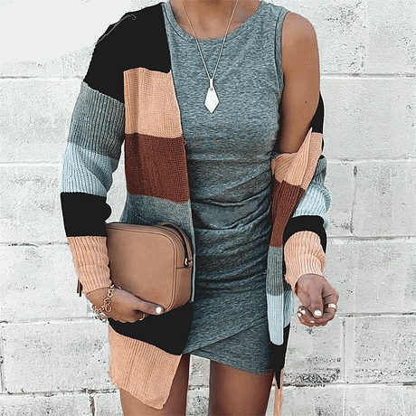 NLW Stripe Knitted Cardigan 2019 Autumn Winter Women Casual Sweater Cardigans Long Sleeve Pockets Plus Size Chic Cardigans 4