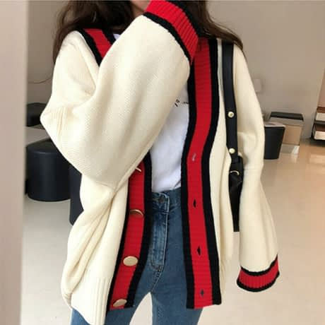 Women Autumn v neck patchwork cardigan sweater coat white loose plus size long sleeve pull femme jersey knitted tops 3