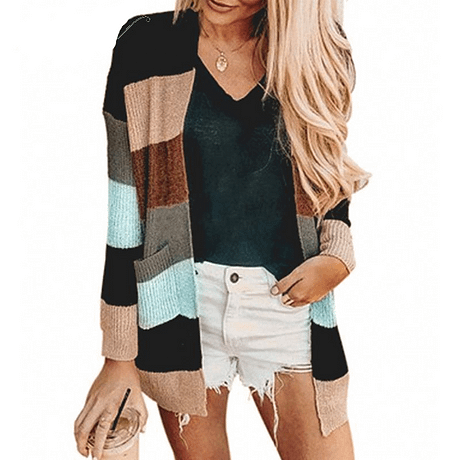 NLW Stripe Knitted Cardigan 2019 Autumn Winter Women Casual Sweater Cardigans Long Sleeve Pockets Plus Size Chic Cardigans 3
