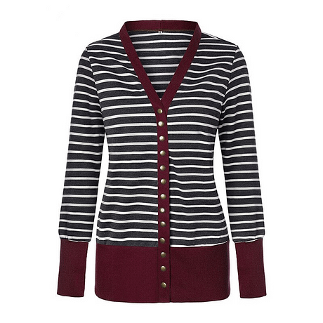 Striped Patchwork Sweater Women Cardigan Autumn 2019 V Neck Buttons Outerwear Fashion Elegant Knit Coat Open Stitch Top Sweater 4