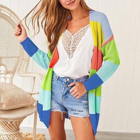 2019 Autumn Winter Knitting Coat Women Knitted Cardigan Striped Print Rainbow Sweater Color Block Open Front Long Sleeve Kimono 2