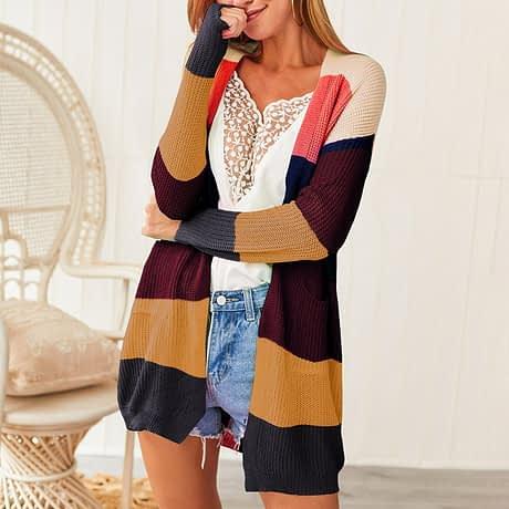 2019 Autumn Winter Knitting Coat Women Knitted Cardigan Striped Print Rainbow Sweater Color Block Open Front Long Sleeve Kimono 4