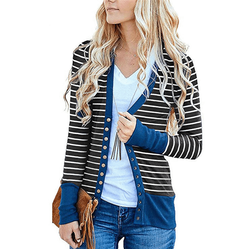 Striped Patchwork Sweater Women Cardigan Autumn 2019 V Neck Buttons Outerwear Fashion Elegant Knit Coat Open Stitch Top Sweater 1